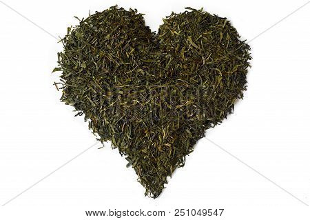 Chinese Green Tea On White Background Heart Shaped