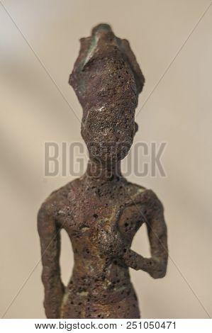 Huelva, Spain - July 02, 2018: Figure Of Violent War-goddess Anat At Archaeological Museum Of Huelva