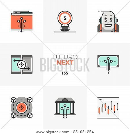 Modern Flat Icons Set Of Fintech Industry, Future Financial Technology. Unique Color Flat Graphics E