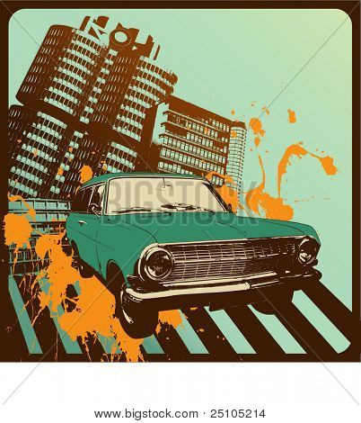 vintage car in front of an grungy urban background poster