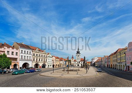 Zatec Town,  Czech Republic - May 25, 2016: Empty Square In Zatec Town In The Morning.