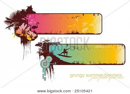 set of two grungy summer-banners - please see my portfolio for the corresponding vector-version
