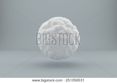 Abstract white sphere on a gray background. 3d rendering.