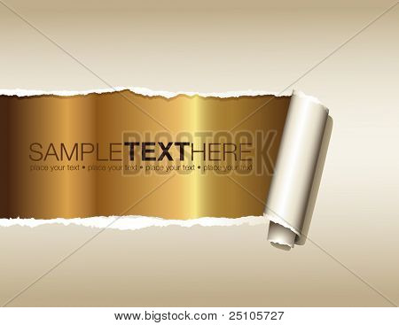 ripped paper displaying a golden background