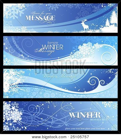 set of 4 blue winter banners with snowflakes and floral elements