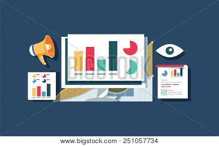 Website Traffic Monitoring, Website Data Analysis, Website Audit Flat Vector Design Banner. Flat Vec