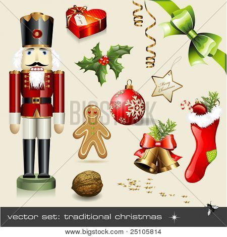 vector set: traditional christmas - assorted classical holiday items