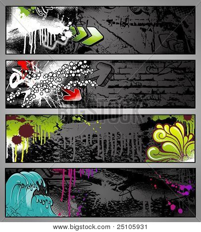 set of four colorful graffiti-style urban banners - see my port for corresponding vector file
