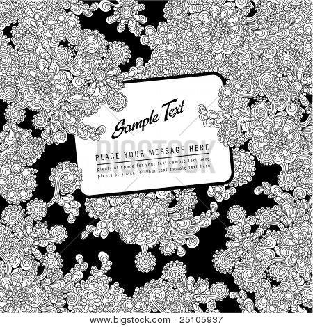 černá a bílá handdrawn květinové pozadí nebo kryt s popiskem pro váš text