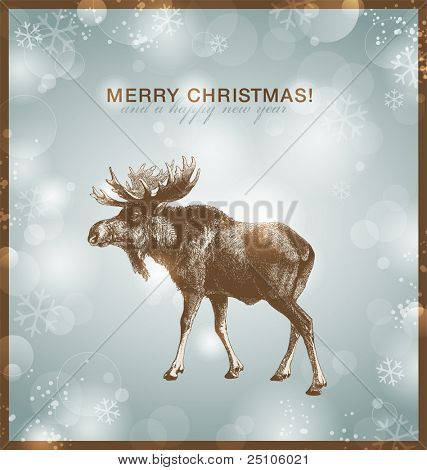 bright winter/christmas background or card with moose against a snowy blurred background poster