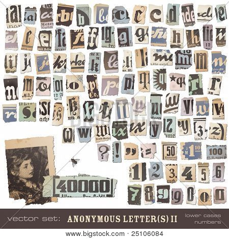 vector set: alphabet based on vintage newspaper cutouts part 2 (lower cases and numbers) - ideal for your threatening letters, ransom notes or similar ...