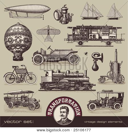 vector set: vintage means of transportation - variety of old-fashioned illustrations