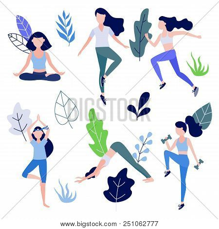 Cute Slim Girl Standing Doing Yoga Exercise Or Stretching, Workout With Dumbbells And Jogging On Abs