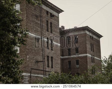 Old Large Building. Kazakhstan (ust-kamenogorsk). Grunge Architecture. Architectural Heritage. Old A