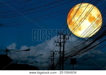 Super Full Blood Moon Back Silhouette Power Electric Line And Pillar
