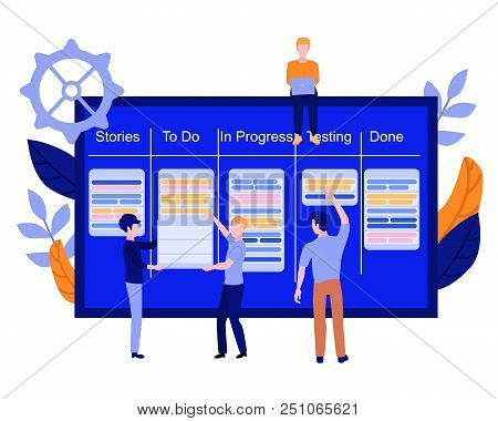 Flat Men It, Software Developer Or Designer Sitting On Big Scrum Agile Board With Daily Tasks, Kan B