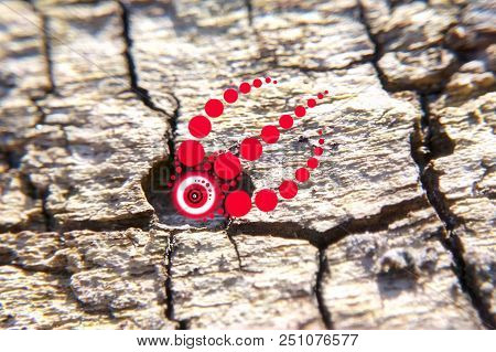 Red Psychedelic Pattern On The Bark In The Forest, The Symbol Of The Prana, Geometric Circles-balls,