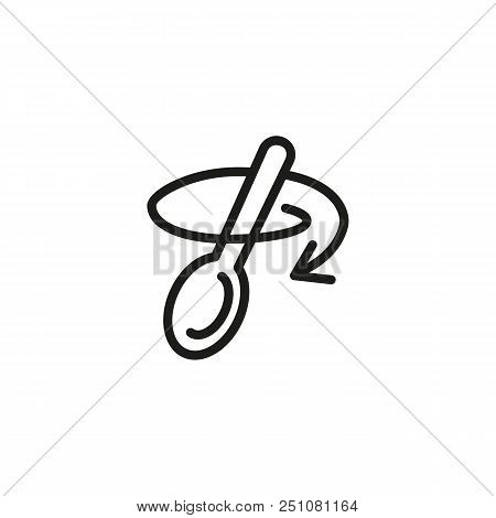 Stirring With Spoon Line Icon. Tablespoon, Household, Arrow. Cooking Concept. Vector Illustration Ca