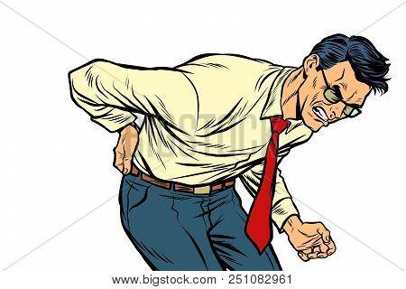 Backache Low Back Pain. Man Health And Medicine. Pop Art Retro Vector Illustration Vintage Kitsch Dr