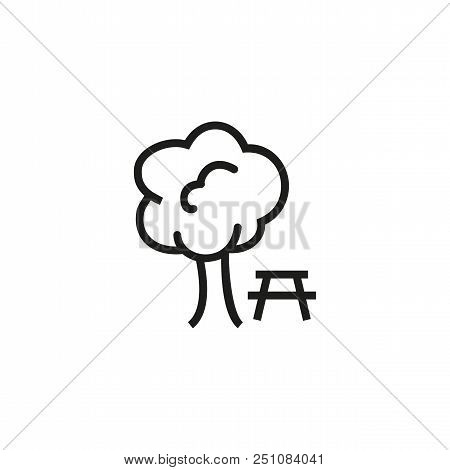 Rest Area Line Icon. Park, Table, Camping. Picnic Concept. Vector Illustration Can Be Used For Topic