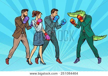 People Boxing A Reptilian Crocodile. Pop Art Retro Vector Illustration Kitsch Vintage