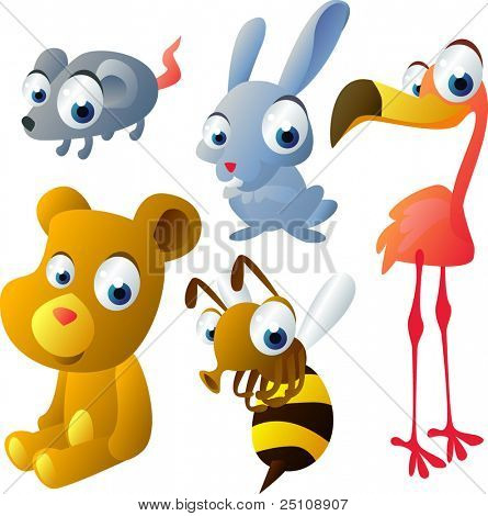 vector animal set 31: mouse, hare, flamingo, bear, bee
