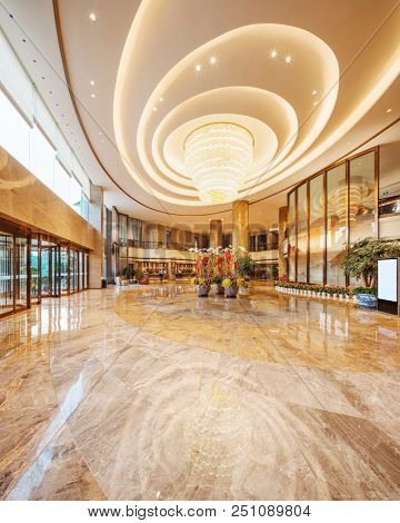 modern lobby in hotel with crystal lamp
