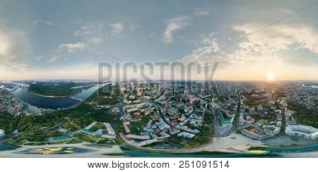 A Big 360 Degrees Panorama In High Resolution Of The Center Of Kiev City At Sunset.