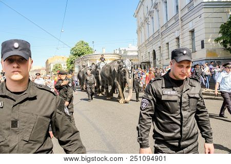 St. Petersburg, Russia - 26 May, Guards Of The Parade Of Elephants, 26 May, 2018. Parade Of Elephant