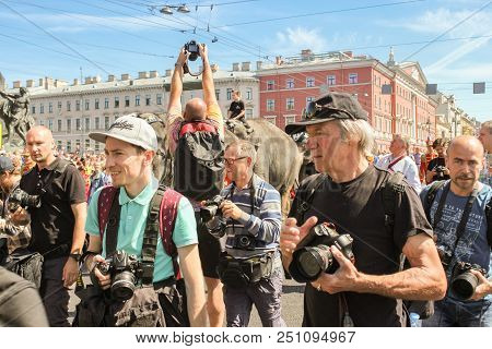 St. Petersburg, Russia - 26 May, Photographers On The Parade Of Elephants, 26 May, 2018. Parade Of E