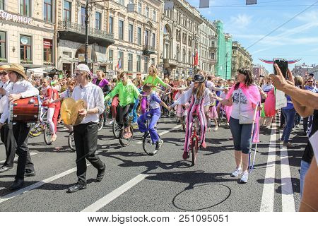 St. Petersburg, Russia - 26 May, Parade Of Circus Performers, 26 May, 2018. Parade Of Elephants In T