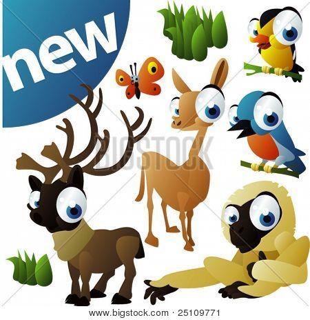 vector animal set 252: caribou, llama, monkey, birds