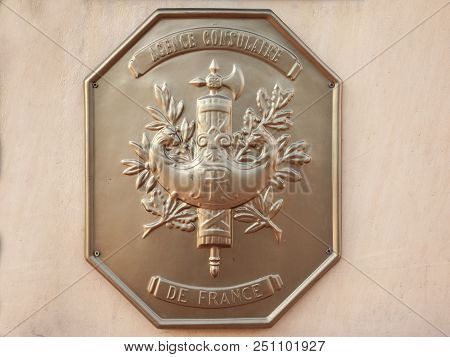 Szeged, Hungary - July 2, 2018: Official Plaque Of The Local French Consulate (consulat De La Republ