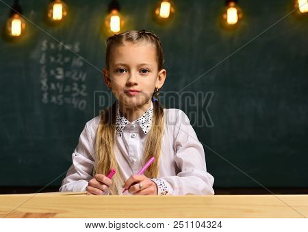 Future Businesswoman. Future Businesswoman Study At School. Future Education For Little Businesswoma