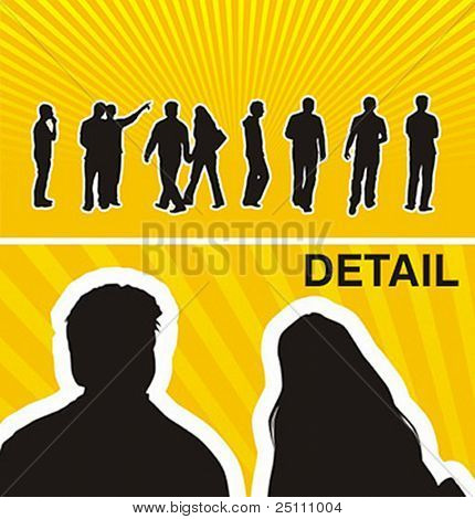 Vector silhouettes of casual young people.