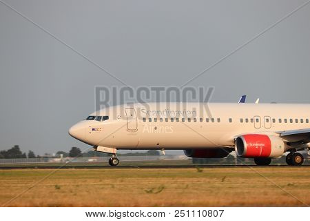Amsterdam The Netherlands - July 26th 2018: Ln-rgi Sas Scandinavian Airlines Boeing 737-800 Takeoff