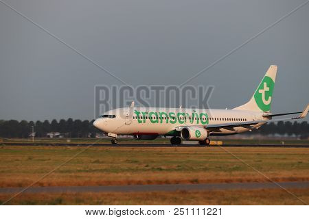 Amsterdam The Netherlands - July 26th 2018: Ph-hsw Transavia Boeing 737-800 Takeoff From Polderbaan