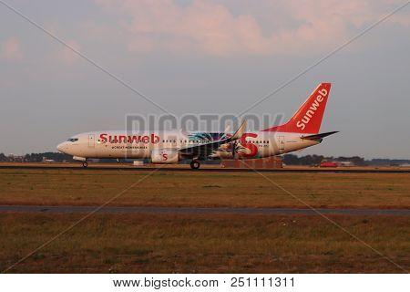 Amsterdam The Netherlands - July 26th 2018: Ph-hsj Transavia Boeing 737-800, Sunweb Livery Takeoff F