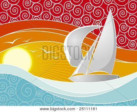 Vector illustration of a yacht sailing at sunset