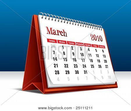 Vector illustration of a 2010 desk calendar showing the month March