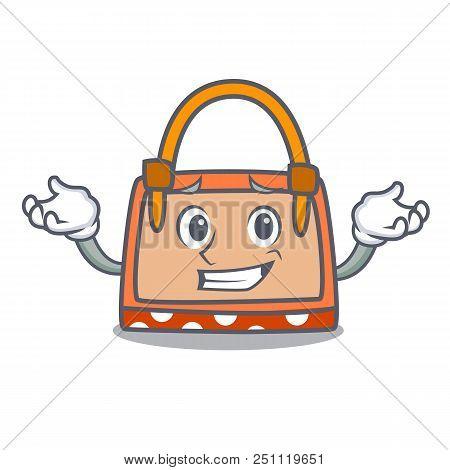 Grinning Hand Bag Character Cartoon Vector Illustration