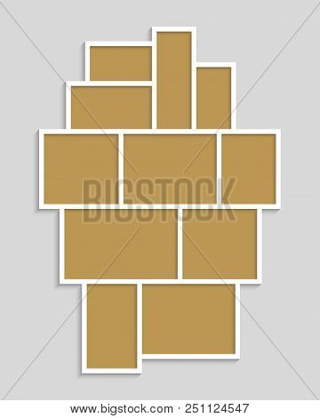 Templates Collage Eleven Frames For Photo Or Illustration. Vector Frame For Photos, Pictures, Photo