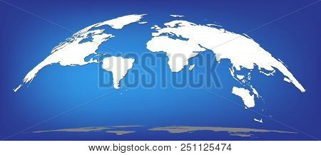 White World Map Silhouette Dome Semisphere With Shadows Isolated On Blue Background, Flat Style Sps