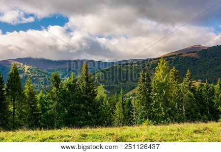 Beautiful Mountainous Scenery In Early Autumn. Cloudy Sky On A Bright And Warm Day. Forest On A Gras