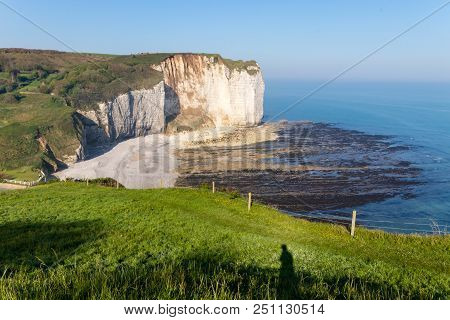 Aiguille Etretat Cliff On The Sea Side And Its Beautiful Limestone Cliffs