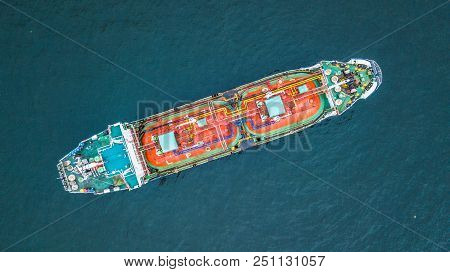 Aerial Top View Oil Tanker Ship, Tanker For Import Export Business Logistic And Transportation.