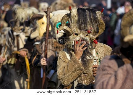 Participants Take Part In The International Festival Of Masquerade Games Surva. The Festival Promote