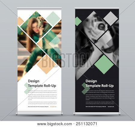 Template Of Vector Vertical Roll-up Banner With Square Elements For A Photo. Black And White Design