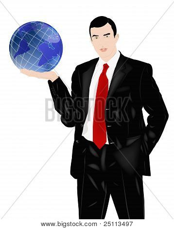 The Successful Businessman Holds In A Hand Globe