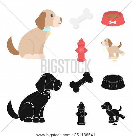 A Bone, A Fire Hydrant, A Bowl Of Food, A Pissing Dog.dog Set Collection Icons In Cartoon, Black Sty